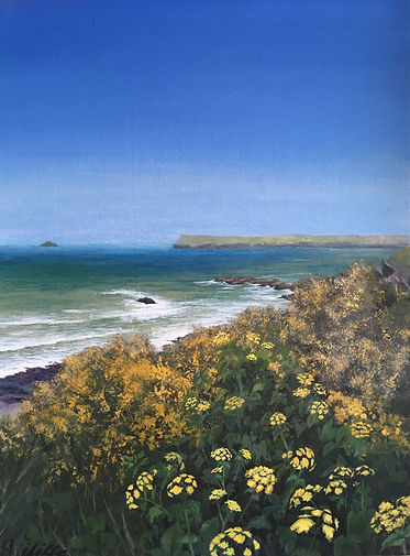 pentire point painting, cornish cliff flower painting, greenaway painting, polzeath painting, trebetheric painting, daymer bay painting, cornish artist