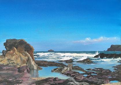 old grey painting, rock pool painting, greenaway painting, polzeath painting