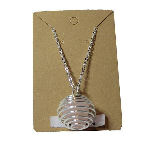 "Rose Quartz Cage Necklace - Silver 14"""