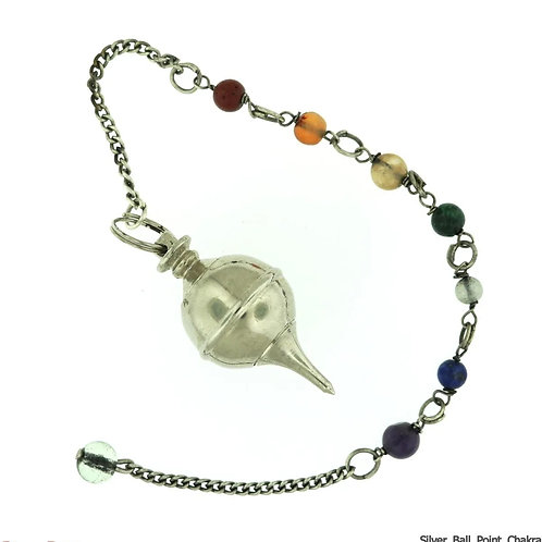Metal Pendulum - Silver Colour Ball & Point with Chakra Beads