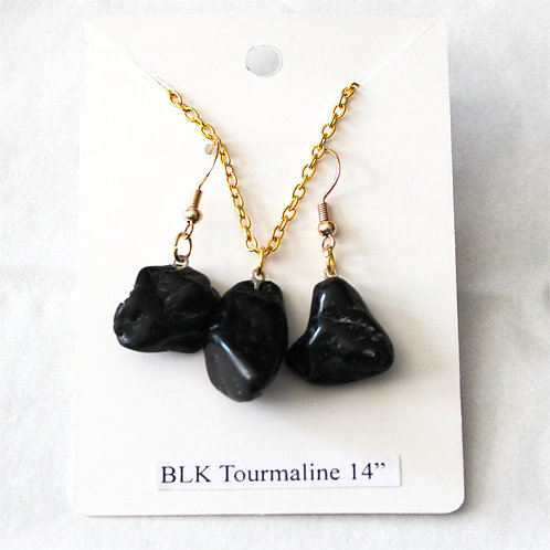 """Black Tourmaline Earring and Necklace Set - Gold Chain 14"""""""