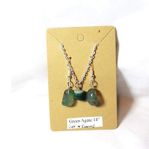 """Green Agate Earring and Necklace Set - Silver Chain 14"""""""