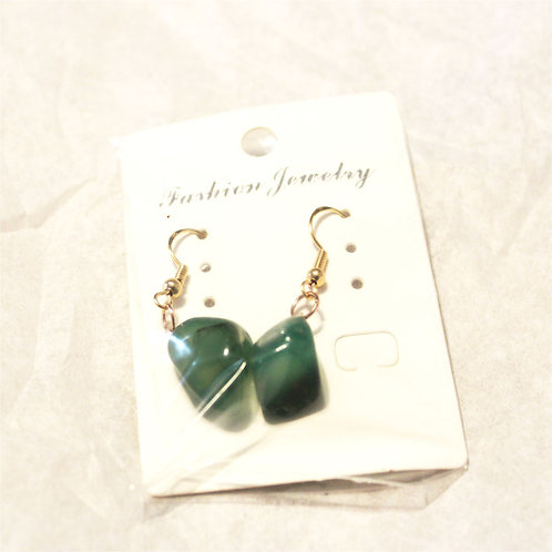 Green Agate Earrings- Gold Hooks