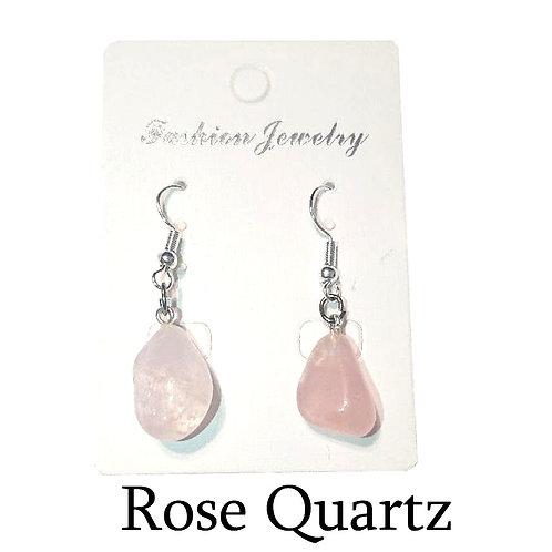Rose Quartz Earrings - Silver Hooks