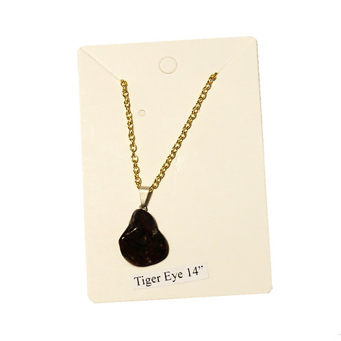 """Tigers Eye Necklace - Gold Chain 14"""""""