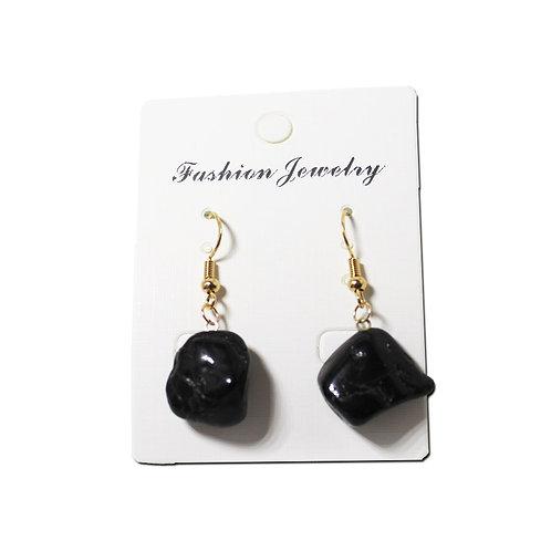 Black Tourmaline Earrings- Gold Hooks