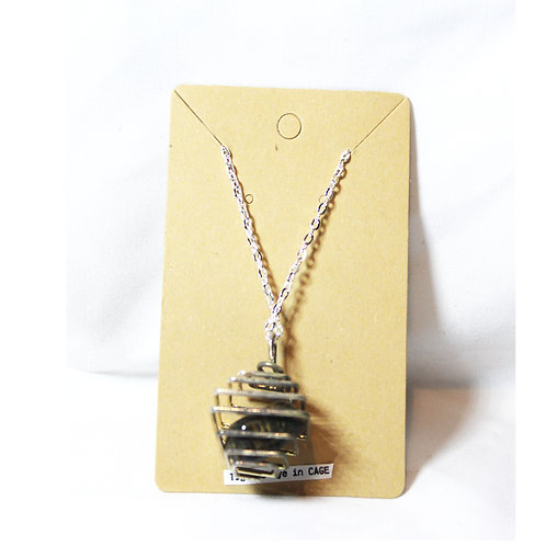 Tigers Eye Cage Necklace - Silver 14""