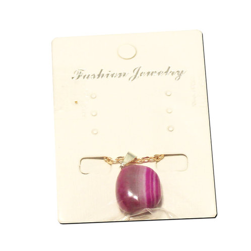 """Pink Agate Necklace - Gold Chain 14"""""""