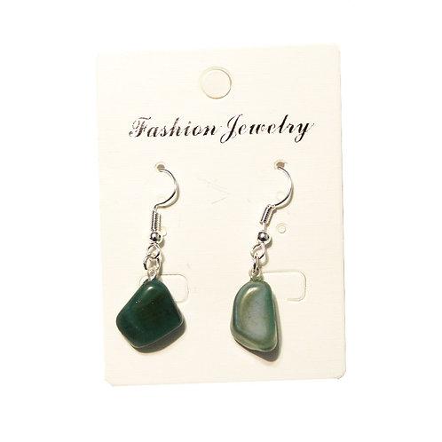 Green Agate Earrings - Silver Hooks