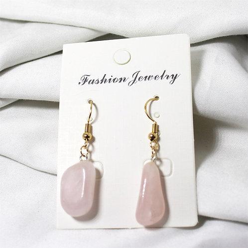 Rose Quartz Earrings- Gold Hooks
