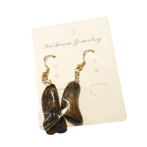 Tigers Eye Earrings- Gold Hooks