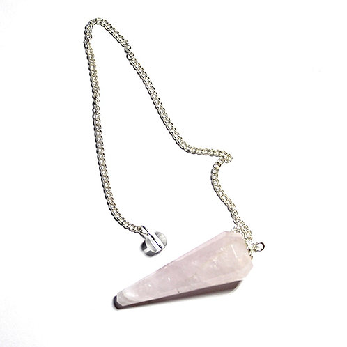 Rose Quartz Pointed Pendulum 12 sides with bead end