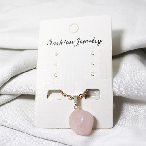 """Rose Quartz Necklace with Gold Chain 14"""""""