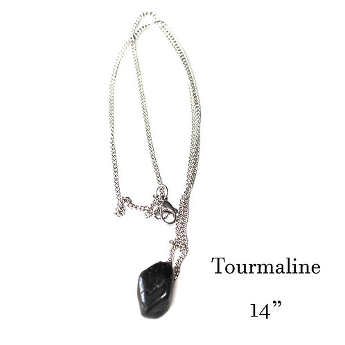 "Black Tourmaline Necklace - Silver Chain 14"""