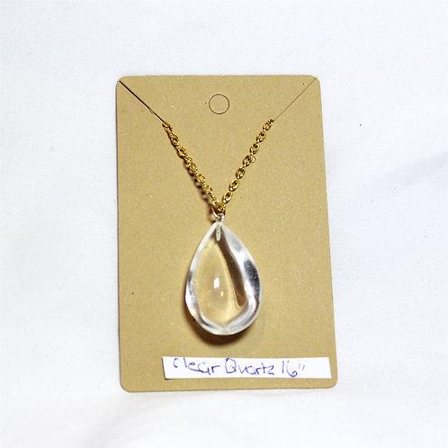 """Clear Quartz Teardrop Necklace - Gold 16"""""""