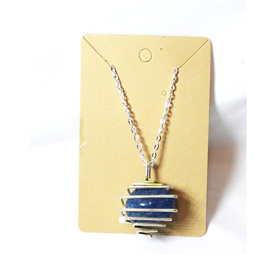 """Blue Agate Cage Necklace - Silver 14"""""""