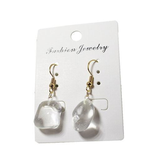 Clear Quartz Earrings - Gold Hooks