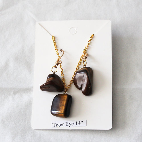 Tigers Eye Earring and Necklace Set - Gold Chain 14""
