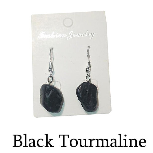 Black Tourmaline Earrings - Silver Hooks