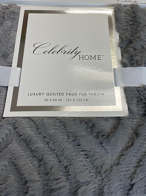 Quilted Faux Fur Throw Grey