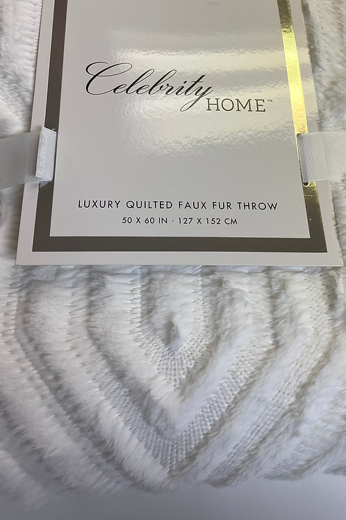 Luxury Quilted Faux Rabbit Fur Throw (Ivory)