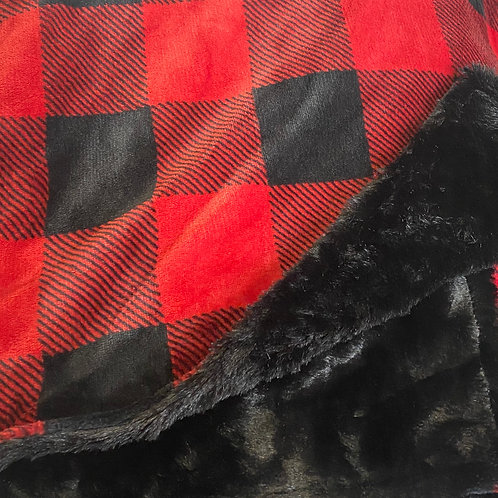 Red and Black 50 x 60 checkered throw
