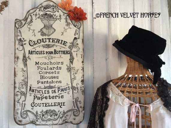 The look and feel of French fashion is everywhere! Clothing designers and home décor experts are embracing the chic design of French couture and style once again through signage, accessories and furniture. Photo courtesy of French Velvet Horses.