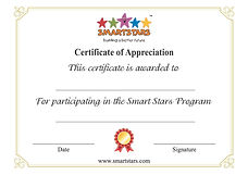 Smart Stars Certificate of Appreciation