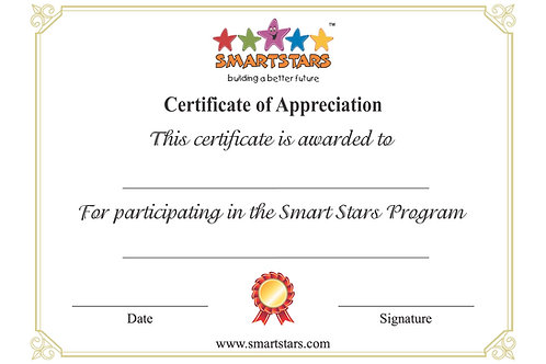 Smart Stars Certificate of Appreciation - May 2020