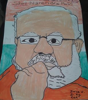 Portrait of Shri Narendra Modi by JIVYA