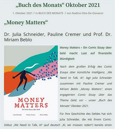 Money Matters Buch des Monats tredition