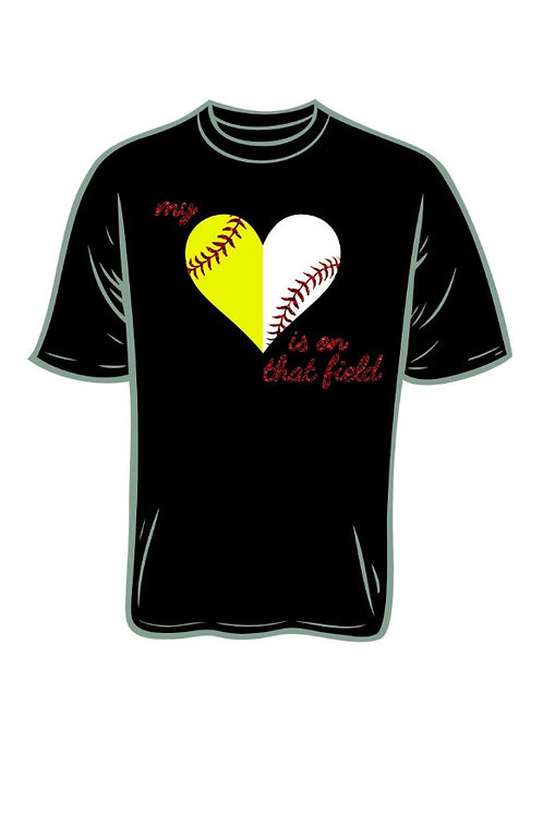 Heart Baseball/Softball Black SlubTee