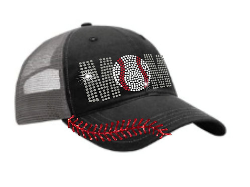 Baseball Mom Rhinestone Trucker Cap