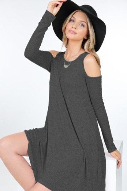 Charcoal Grey Cold Shoulder Dress W Pockets