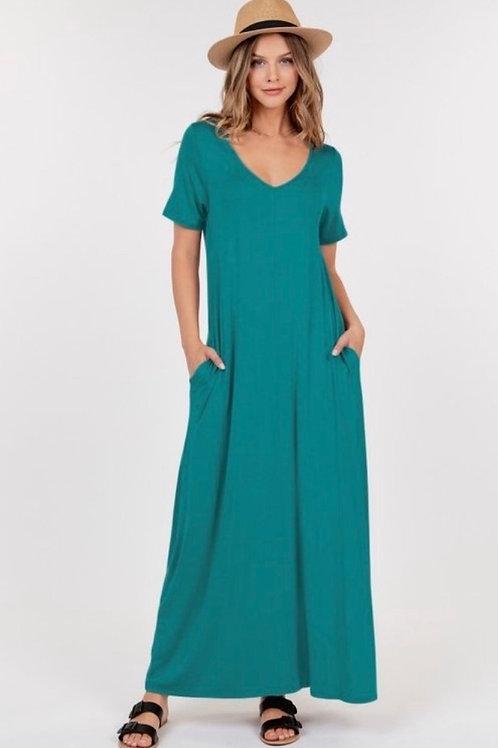 DK Teal V Neck Maxi Dress with pockets