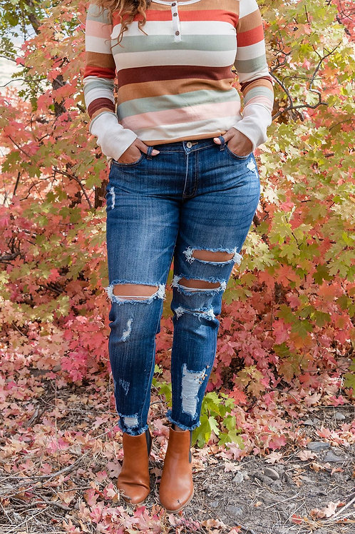 On My Way Distressed Dark Wash Jeans