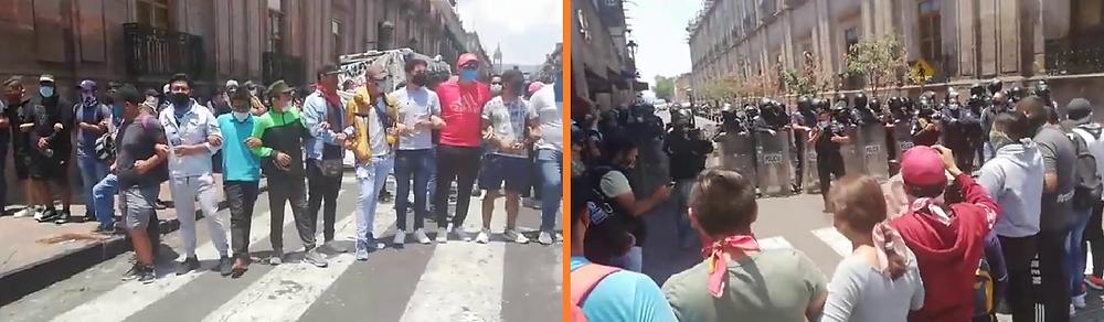 #Morelia: Chica normalista se desmaya en medio de protesta y se generan empujones a reporteros Video