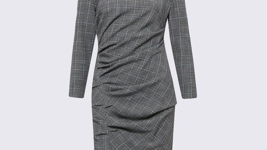 Marella Side drape plaid dress