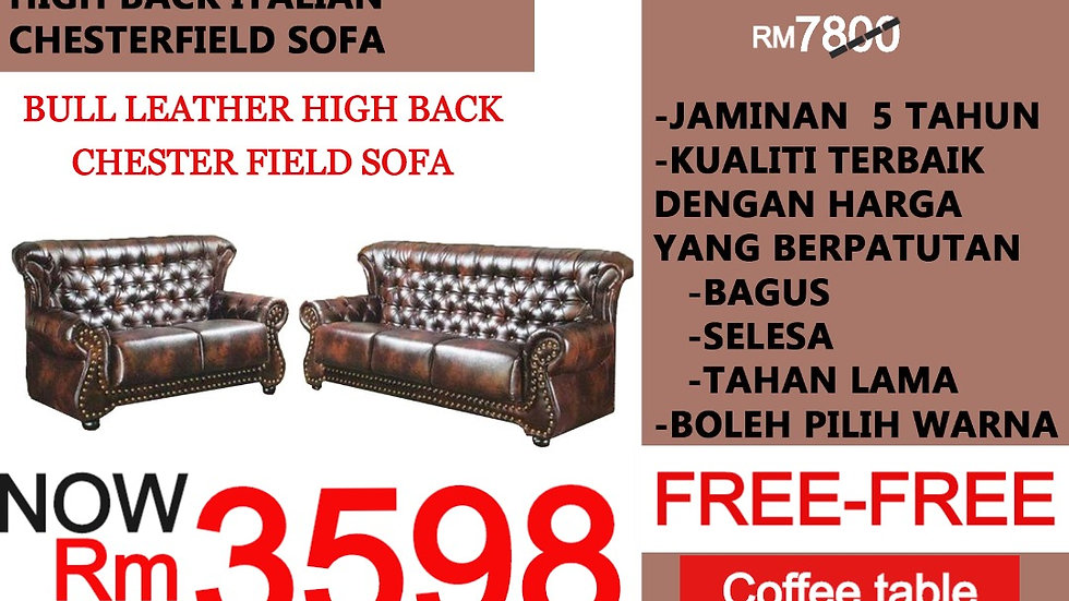 HIGH BACK BULL LEATHER CHESTER FIELD SOFA