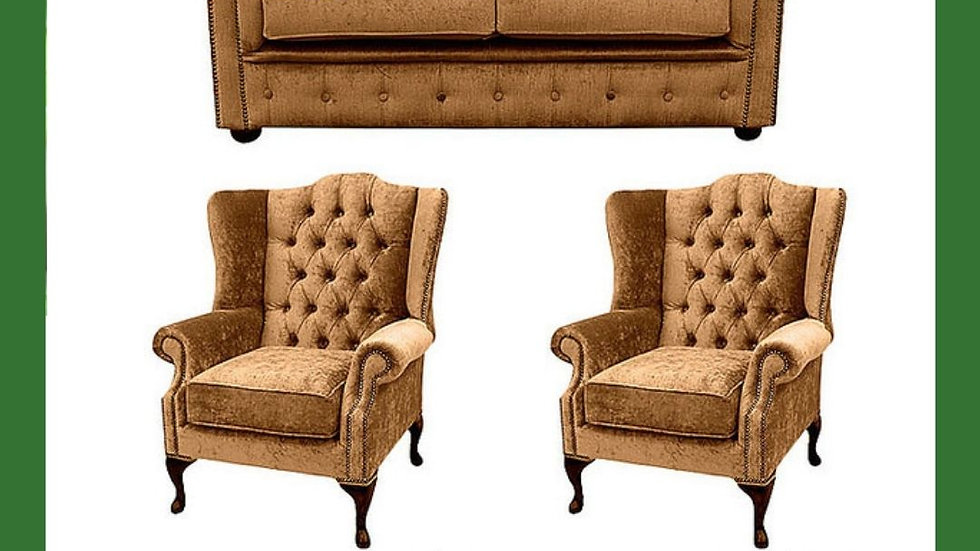 Chesterfield Sofa set 2 seater with 2 unit wing chair