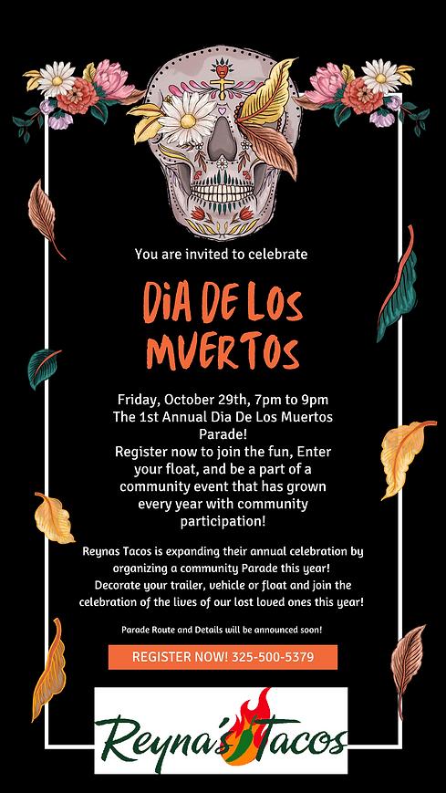 Dia de Los Muertos Black Orange with Detailed Illustration Party Invitation Instagram Stor
