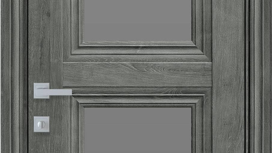 Двері Тесса-GRF ЕкоВуд Горіх Сибірський скло графіт