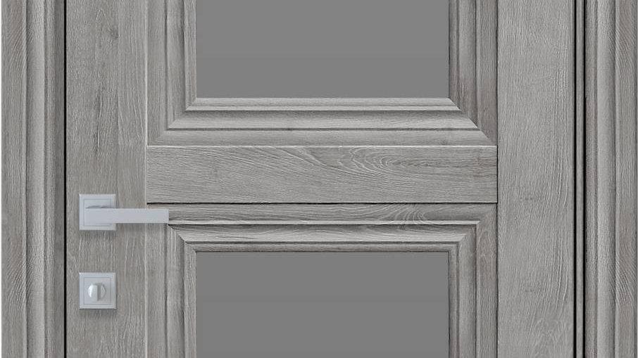 Двері Тесса-GRF ЕкоВуд Горіх Скандинавський скло графіт