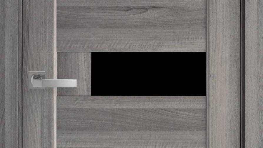 Двері Піана-blk ПВХ DeLuxe Бук Попилястий скло чорне