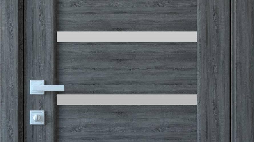 Двері Лінея ПВХ DeLuxe Grey new скло сатин
