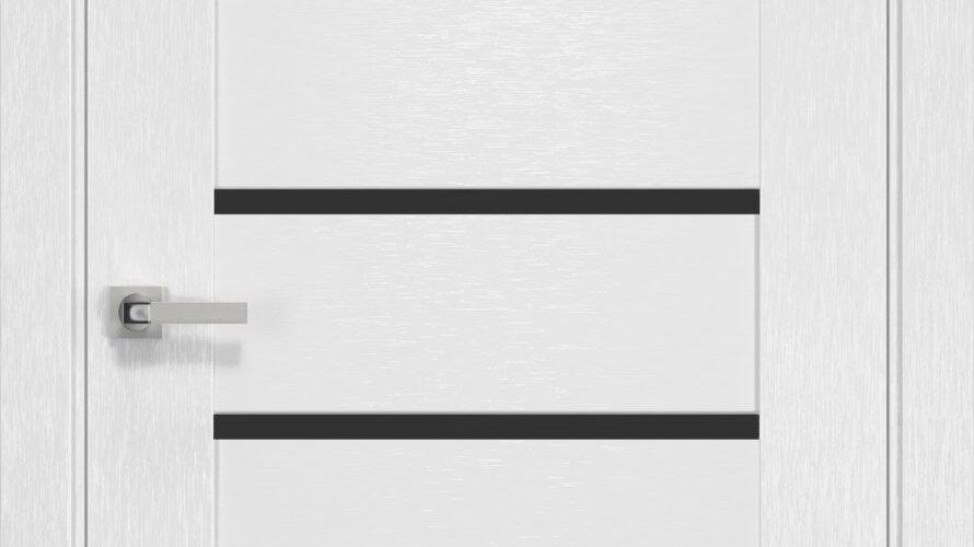Двері Парма шовк х-білий чорне скло