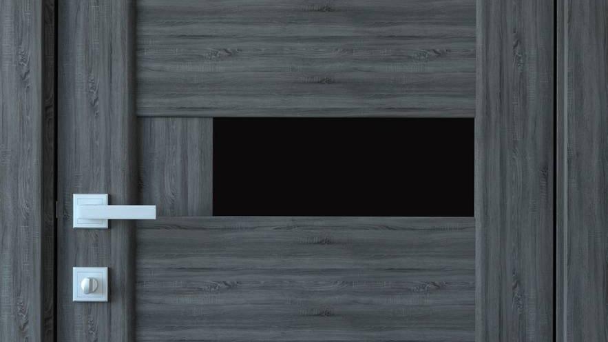Двері Піана-blk ПВХ DeLuxe Grey new скло чорне