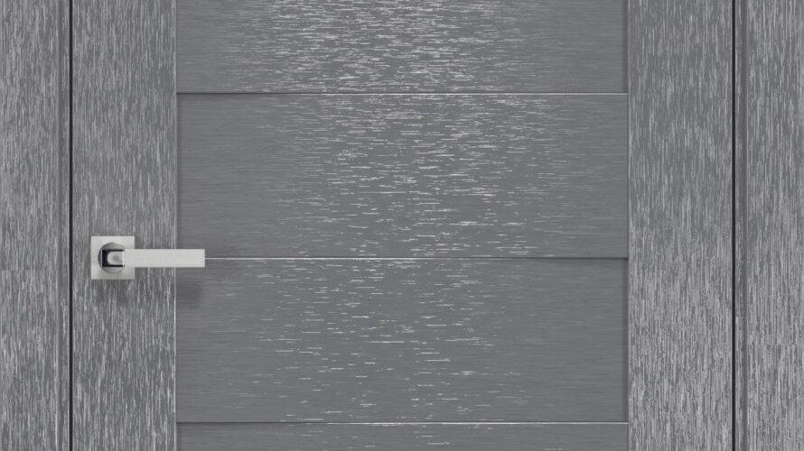 Двері Женева шовк х-сірий чорне скло