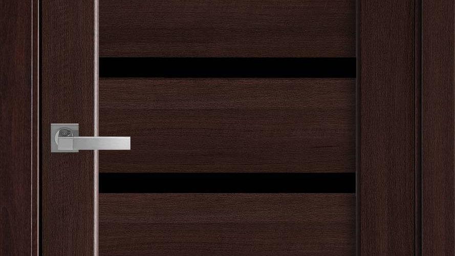 Двері Лінея ПВХ DeLuxe Каштан чорне скло