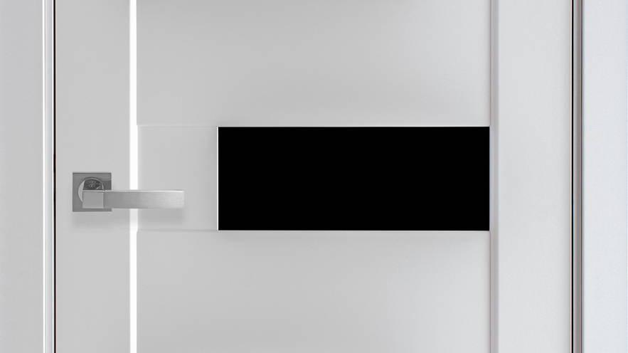 Двері Піана-blk Premium Білий Матовий скло чорне